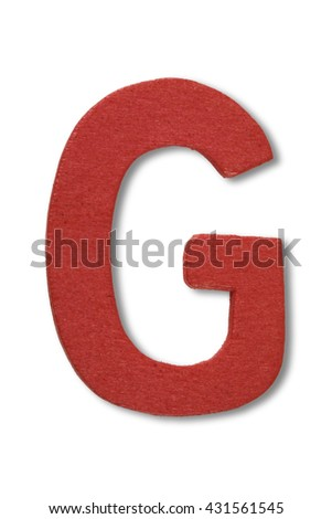 Wooden alphabet letter with drop shadow on white background, G - stock photo