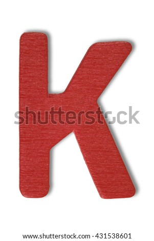 Wooden alphabet letter with drop shadow on white background, K - stock photo