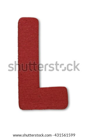 Wooden alphabet letter with drop shadow on white background, L - stock photo