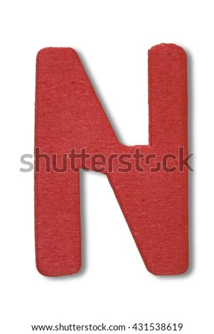 Wooden alphabet letter with drop shadow on white background, N - stock photo