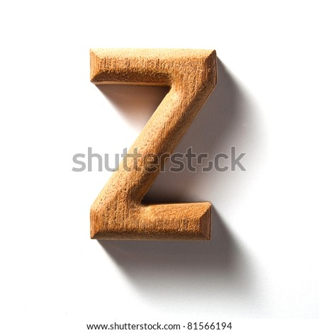 Wooden alphabet letter with drop shadow on white background, Z - stock photo