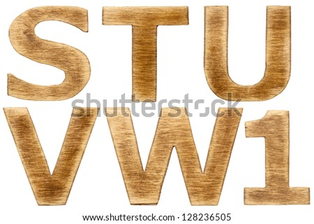 Wooden alphabet letters and number one. - stock photo