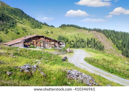Wooden alpine hut in the alps, Salzburg, Austria - stock photo