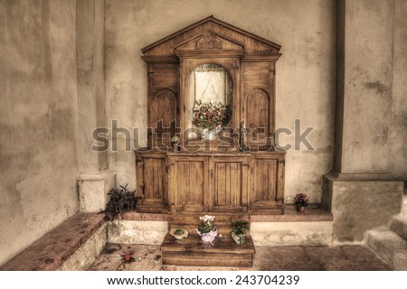 wooden altar in an italian church.vintage tone. - stock photo