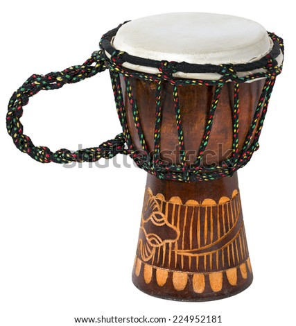 Wooden and decorated African Djembe (bongo) isolated on a white background - stock photo