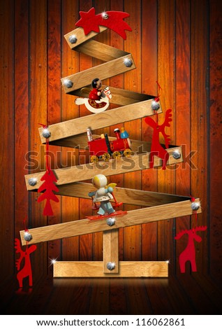 Wooden and Stylized Christmas Tree / Stylized Christmas tree decorated with Christmas objects on wooden background