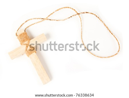 Wooden antique look crucifix necklace isolated on white background - stock photo