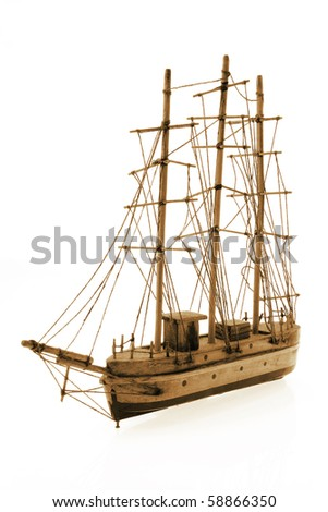 Wooden Antique Tall Ship on White Background