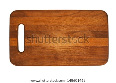 Wooden antiseptic cutting board isolated with two clipping paths on white background - stock photo