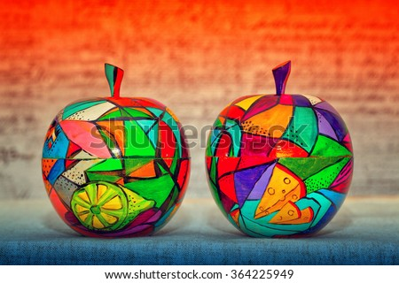 wooden apples, contemporary art. Decorative wooden fruit