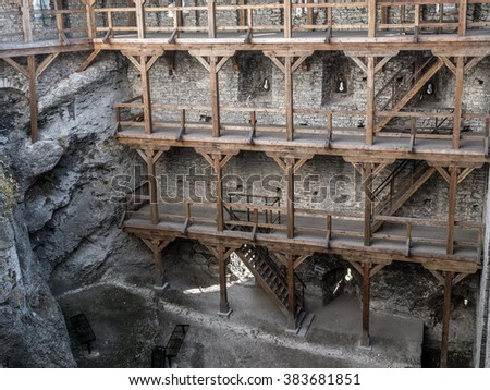 Wooden arcades inside medieval castle Ogrodzieniec, located on the Trail of the Eagles' Nest within the Krakow-Czestochowa Upland, Poland - stock photo