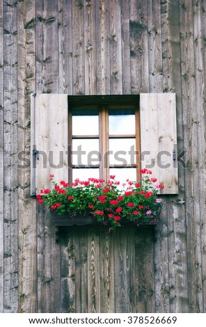 Wooden architectural detail in South Tirol, Italy, Europe