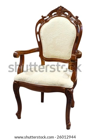 Wooden armchair isolated on a white background