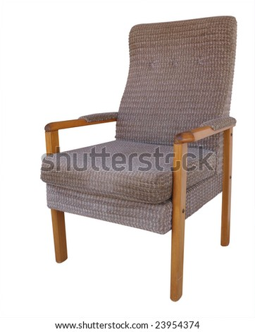 Wooden Armchair isolated with clipping path
