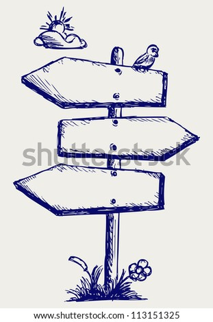 Wooden arrow board. Raster version - stock photo