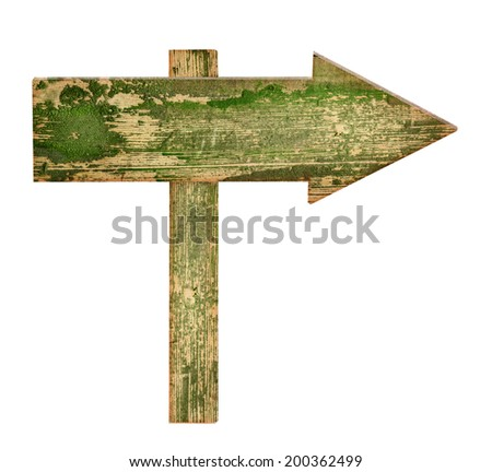 Wooden Arrow isolated on white background