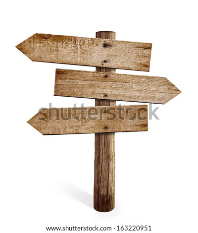wooden arrow sign post or road signpost isolated - stock photo