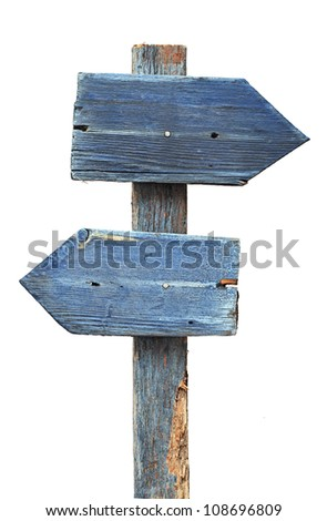 Wooden arrows road sign isolated on white