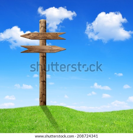 Wooden arrows road sign on meadow - stock photo