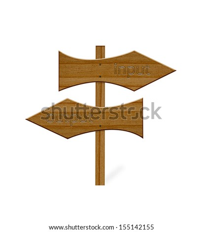 Wooden arrows sign isolated on white
