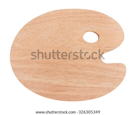 Wooden art palette, isolated on white background - stock photo