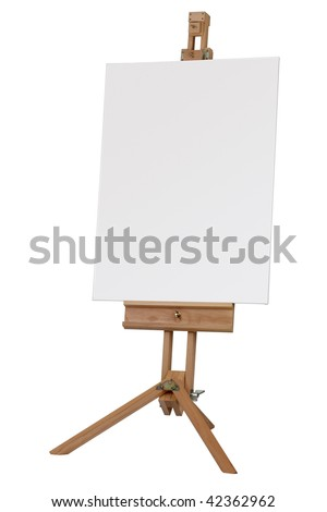 Wooden artists easel with blank canvas isolated on white background - stock photo