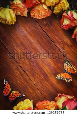 Wooden Background Decorated with Roses