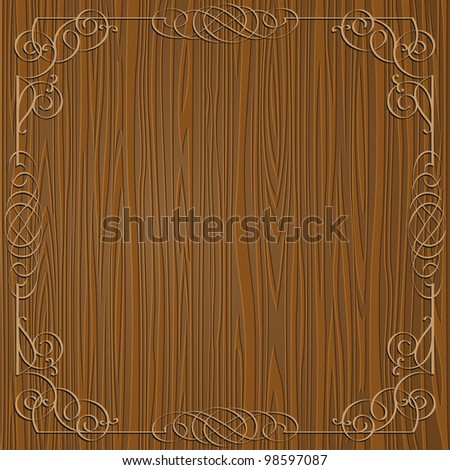 Wooden background with calligraphy ornamental frame