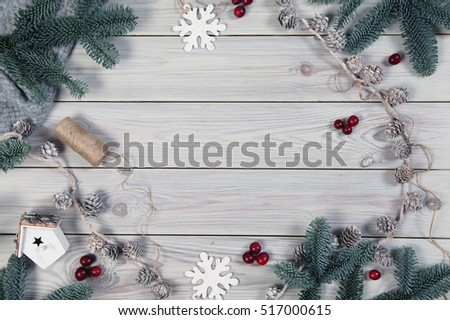 wooden background with christmas decorations