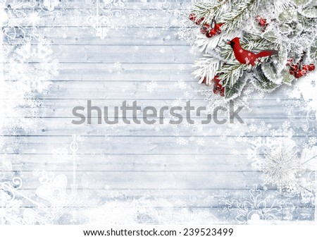 Wooden background with firtree, holly, bird,snowflake - stock photo