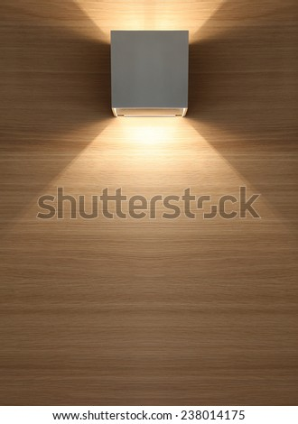 Wooden background with lamp. - stock photo