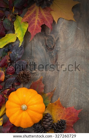 wooden background with  pumpkin and leaves, vertical, top view, closeup - stock photo