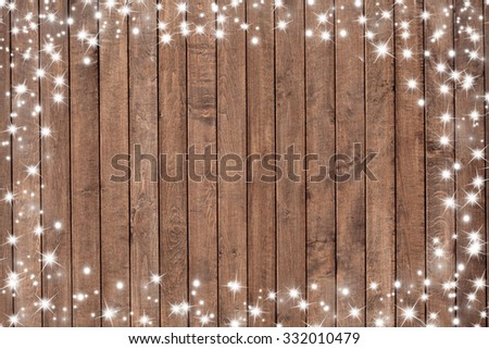 Wooden background with snow flakes . Christmas background - stock photo
