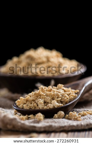 Wooden background with Soy Meat (close-up shot) - stock photo
