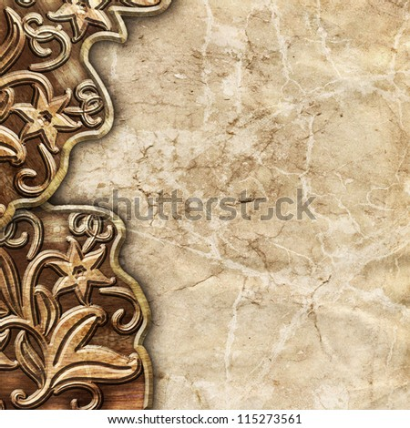 wooden background with stone surface - stock photo