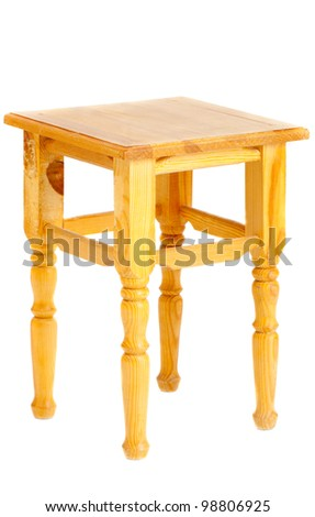 wooden backless stool - stock photo