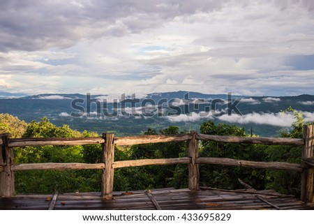 Wooden balconies with mountain and sea fog after rain in Phu Suan Sai National Park at na haeo, loei, thailand