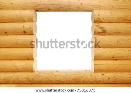 wooden balk window frame, clipping path - stock photo