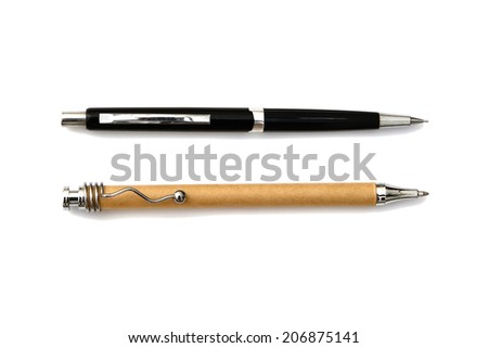 Wooden ballpoint pen and black mechanical pencil isolated on white background - stock photo