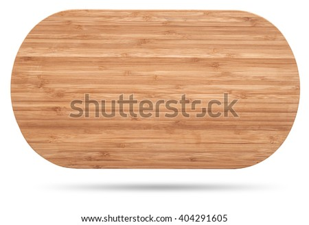 wooden bamboo plate isolated on white - stock photo
