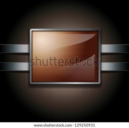 Wooden banner on a metal perforated background - stock photo
