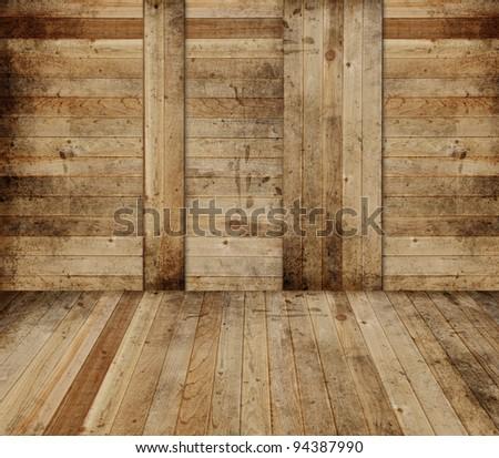 Wooden barn interior - stock photo