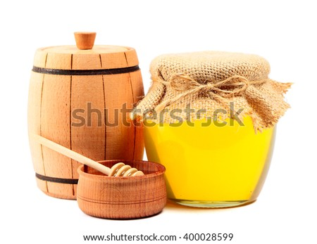 Wooden barrel and jar with honey isolated on white background - stock photo