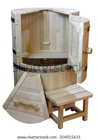 wooden barrel bath for bathing and washing on a white background                               - stock photo