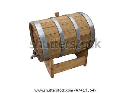 Wooden barrel for beer and cider on isolated background