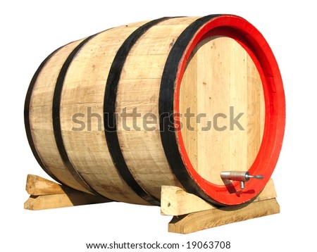 wooden barrel for wine isolated over white background - stock photo
