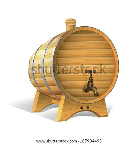 Wooden barrel. Illustration. - stock photo