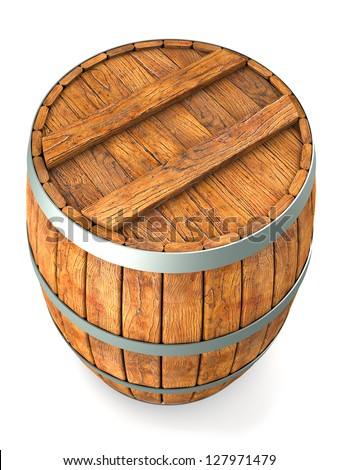 Wooden barrel. isolated on white - stock photo