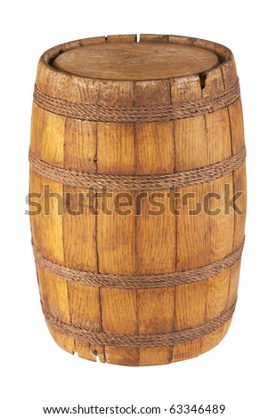 Wooden barrel isolated on white background - stock photo