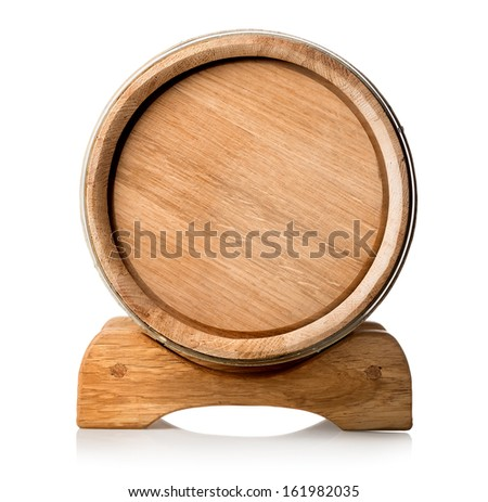 Wooden barrel on the stand isolated o white - stock photo